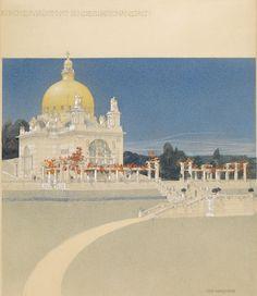 Kirche St. Leopold am Steinhof, Wettbewerbsprojekt, Ansicht, 1902 Wien Museum