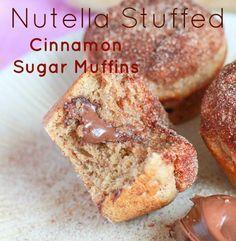 Nutella Stuffed Cinnamon Sugar Muffins & 30 Sweet Muffin Recipes from @ChocolateChocolateandmore