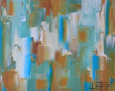 Original abstract oil painting, palette knife artwork by award winning San Francisco Bay artist Lisa Elley. A stunning abstract palette knife painting, with calming hues of turquoise blue, ocher and Titanium white. READY TO SHIP, direct from the San Francisco Bay studio of an award winning fine artist ------ This listing is for a gallery quality abstract painting. 100% Palette knife, the impasto paint on this piece is very thick, and will just leap off your walls! S I Z E: Archival…
