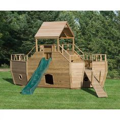 Amish Made 8x20 ft Wooden Play Ship #Playground #Set