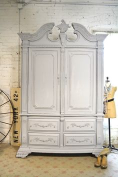 Painted Cottage Chic Shabby Farmhouse Romantic Armoire by paintedcottages on Etsy