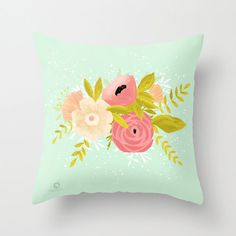 Decorative Pillow - Spring Bouquet  - 100% cotton by Micush on Etsy https://www.etsy.com/listing/188858658/decorative-pillow-spring-bouquet-100