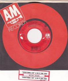 "Bryan Adams / Everything I Do ( I Do It For You) / 7"" Vinyl 45 RPM Record & Jukebox Strip #BryanAdams #RobinHood"