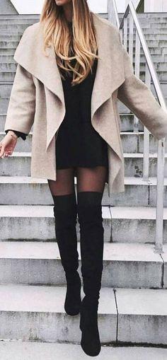 Classy Elegant Going Out Thigh High Boots Outfit Ideas for Women Fall or Winter – Elegantes ideas para ropa de otoño o invierno para mujeres – www.GlamantiBeaut… 36 Stylish Sweaters Outfit for Cold Winter Womens Thigh High Boots, Thigh High Boots Outfit, Over The Knee Boot Outfit, Dress With Boots, Thigh High Outfits, Winter Boots Outfits, Casual Winter Outfits, Winter Fashion Outfits, Fall Outfits