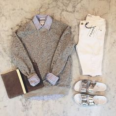 Layers and leopard - Iro jeans sweatshirt over California Tailor button down with Leather Crown sandals, Clare V clutch, and Frame Denim.