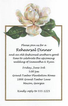 Magnolia invitations magnolia blossom rehearsal dinner for Magnolia tree wedding invitations