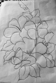 Basic Painting, Silk Painting, Flower Coloring Pages, Adult Coloring Pages, Hand Embroidery Stitches, Embroidery Patterns, Hawaiian Designs, Arte Country, Black And White Sketches