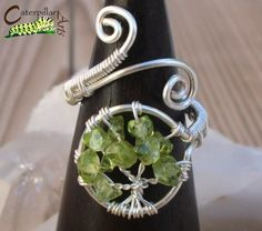 Etsy Transaction - Peridot Tree of Life Ring - Tree of Life Jewelry - Wire Wrapped Ring - Made to Order - Silver Plated