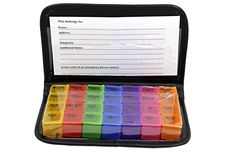 Easy Open 7 Day Travel Pill Box Prescription  Medication Organizer with Pill Case from CoCo Island For Small to Medium Sized Pills Up To 075 in length *** Offer can be found by clicking the image http://www.amazon.com/gp/product/B01JPQTM5I/?tag=buyamazon04b-20&p7h=260217215922