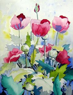 looks like a nice watercolor poppies on paper #art