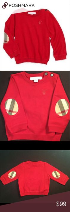 Burberry Baby Check Elbow Patch Red Sweater SOLD OUT Authentic Burberry Baby Boys Mini Gearrads Check Elbow Patch Sweater Size 12 months Bright red Cotton Crewneck with banded cuffs and hem Long sleeve with Burberry signature check elbow patches  Tonal embroidered logo in left chest Hand wash Worn for a couple hours once for photos No stains, tears, smells, etc... like new condition. Purchased at Neiman Marcus Burberry Shirts & Tops Sweaters