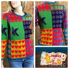 Vintage 1970/'s Women/'s Colorful Neon POP ART Heart Strawberry Peacock Flower Plaid Bird Hippie Sweater Size S
