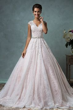 amelia sposa 2016 wedding dresses lace cap sleeves  v neckline embroidered lace bodice gorgeous pink A-line ball gown wedding dress dominica #ballgown #pink #pinkweddingdress