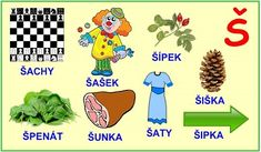 ABECEDA PÍSMENO Š Kids Learning Activities, Alphabet, Education, Logos, Sewing, Learning Activities For Kids, Dressmaking, Couture, Alpha Bet