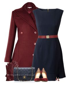 Burgundy & Navy by amber-1991 on Polyvore featuring polyvore, fashion, style, Lipsy, Charlotte Olympia, Chanel, Principles by Ben de Lisi, Maison Boinet, clothing, navy, CharlotteOlympia, burgundy and coat
