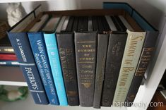 Genius idea -- camouflage DVDs inside a box covered in book spines. Upcycled Book Storage Box » Naptime DIY