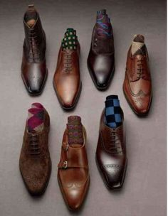 Gentleman's variety of shoes and socks.. I love this site!