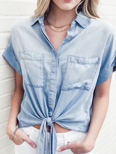 This Bella Dahl Cap Sleeve Tie Front Shirt features two chest pockets, a tie waist and an effortless fit. Designed in a sun bleach denim wash. Safari Dress, Bleached Denim, Maxi Shirt Dress, Front Tie Top, Ruffle Top, Jogger Pants, Cap Sleeves, Rompers, Dahl