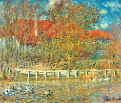 """""""The Pond with Ducks in Autumn"""" ・ by Claude Monet ・ Completion Date: 1873 ・ Style: Impressionism ・ Genre: landscape"""