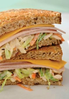 He Came, He Slaw – Coleslaw made with GREY POUPON and MIRACLE WHIP adds a snappy crunch to this cheesy turkey breast sandwich.
