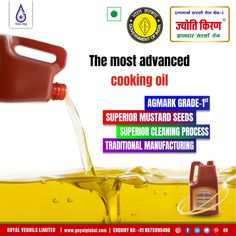 Jyoti Kiran - Pungent Mustard Oil.. Keeping in mind the Goyal Business Ethics to provide the best cooking medium, Goyal Vegoils Ltd. introduced the best quality Jyoti Kiran Pungent Mustard Oil, retaining the natural pungency of mustard.The Company's R&D developed 'Cold Screw Press Technology and put it to Commercial use First time in the History of Mustard Oil Production. The Innovation has proved very successful in extracting Mustard Mustard Oil, Mustard Seed, Best Cooking Oil, Oil Production, Business Ethics, Innovation, Commercial, Good Things, Cleaning