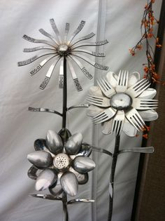 Silverware repurposed as garden art.
