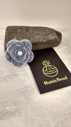 Tweed Flower Brooch Corsage with pin Blue Pink Purple Accessory with button centre Gift for her Under 10