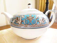 "Wedgwood Florentine Turquoise Teapot, 5-3/8"" tall, 1.4 pints. $279.95 ea, 2 available at islandgirl2246 on ebay, 4/21/16"