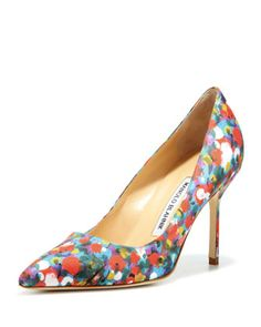 BB Satin 90mm Pump, Floral (Made to Order) by Manolo Blahnik at Neiman Marcus.