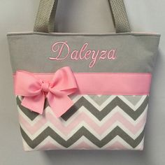 Baby Girl Diaper Bags, Bridesmaid Bags, Pink Tote Bags, Flower Girl Gifts, Quilted Bag, Girls Bags, Custom Bags, Purses And Bags, Chevron