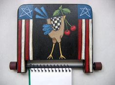 Tole Painted Chicken Note Pad Holder by barbsheartstrokes on Etsy, $12.00
