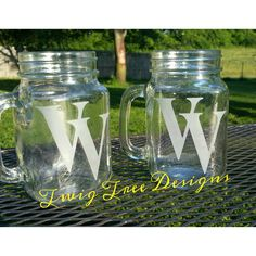 Etched glass mason jar mugs - we did these for our local school !!