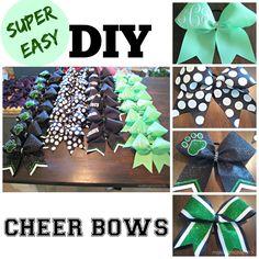 Super Easy Cheer Bows - Making Montecito Softball Hair Bows, Cheer Hair Bows, Cheerleading Gifts, Cheer Gifts, Diy Hair Bows, Diy Bow, Homemade Hair Bows, Cheerleading Stunting, Ribbon Hair