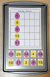 The Counting Up Easter Eggs Cookie Sheet Activity- Students sequence Easter Eggs by counting up!