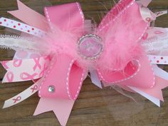 Breast cancer hair bowpink hair bow by bonbow on Etsy, $10.99