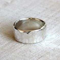 Hammered band men's wide band hammered ring in by PraxisJewelry