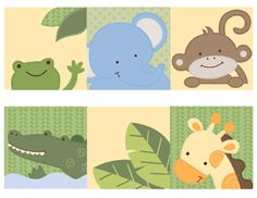 """Jungle Nursery Baby Wall Border made from 11""""x 8.5"""" WHITE GLOSS sticker paper. Border has a frog, elephant, monkey, alligator, and a giraffe."""