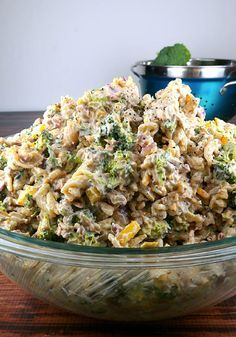Broccoli and Pasta Salad for Large Gatherings – Planning a big party? Serve up a broccoli-pasta salad with equally big flavor. Be sure you have plenty of cheddar cheese and bacon bits on hand for this one!