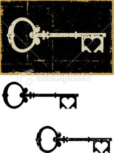 skeleton key with heart