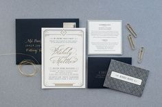 Art Deco Gold Foil Wedding Invitations by Carina Skrobecki Design via Oh So Beautiful Paper