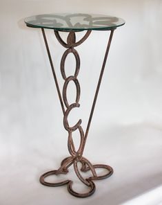 Rustic Horse Shoe Side Table - Western Decor.  Dad could help me!