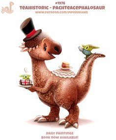 Daily Paint Teahistoric - Pachteacephalosaur by Cryptid-Creations Cute Food Drawings, Cute Animal Drawings Kawaii, Kawaii Drawings, Cute Fantasy Creatures, Cute Creatures, Pretty Art, Cute Art, Chibi, Animal Puns