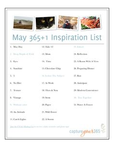 May 365 Photo Prompt List