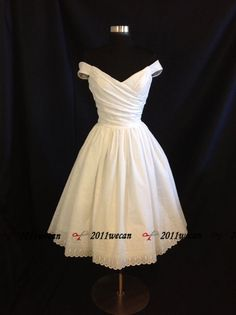 Classic styling of the 1950 s Short White/Ivory off shoulder wedding dress Gown