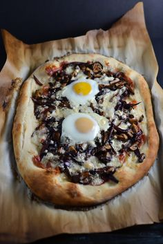 Prosciutto, Caramelized Onion, Mushroom, and Gorgonzola Pizza with an Egg on Top | Things I Made Today