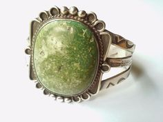 Old Pawn Navajo Sterling Silver Large Green Turquoise Hand Stamped Cuff Bracelet
