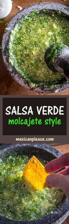 The flavor you can generate in a molcajete is unreal. You'll end up with a vibrant batch of Salsa Verde that might become your new favorite! Healthy Eating Recipes, Mexican Food Recipes, Great Recipes, Healthy Snacks, Vegetarian Recipes, Snack Recipes, Cooking Recipes, Favorite Recipes, Mexican Cookbook