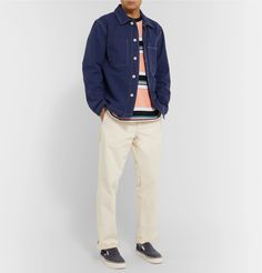 Carhartt Ozark Striped Cotton-jersey T-shirt In Orange Norse Projects, Vans Sneakers, Carhartt, Work Wear, Khaki Pants, Trousers, Beige, Mens Fashion, Suits