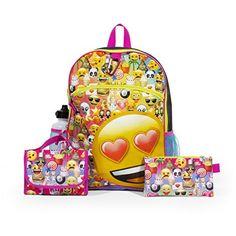 cf82b20476 Awesome Emoji Backpack Set For Girls w  Huge Lover Emoji