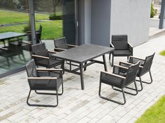 Herd 6 Seater Dining Set with Cushions Sol 72 Outdoor Dining Sets Uk, Garden Dining Set, Outdoor Dining Set, Modern Dining Table, Garden Table, Garden Chairs, Dining Area, Dining Furniture, Garden Furniture
